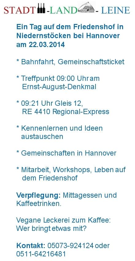 Programm und Inhalte, Treffpunkt Hbf Hannover 23.03.2014, 09:00 Uhr am Ernst-August-Denkmal